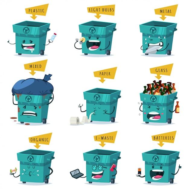 Tri, recyclage et élimination des déchets et ordures. Vecteur Premium