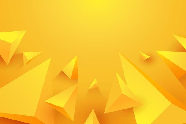 Triangle 3d Concept Fond Jaune Vecteur gratuit