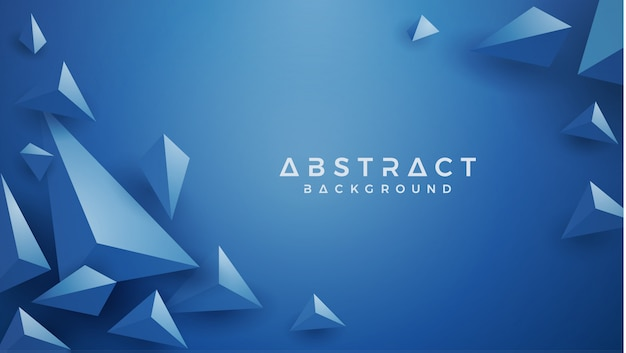 Triangle 3d Fond Bleu Classique. Vecteur Premium