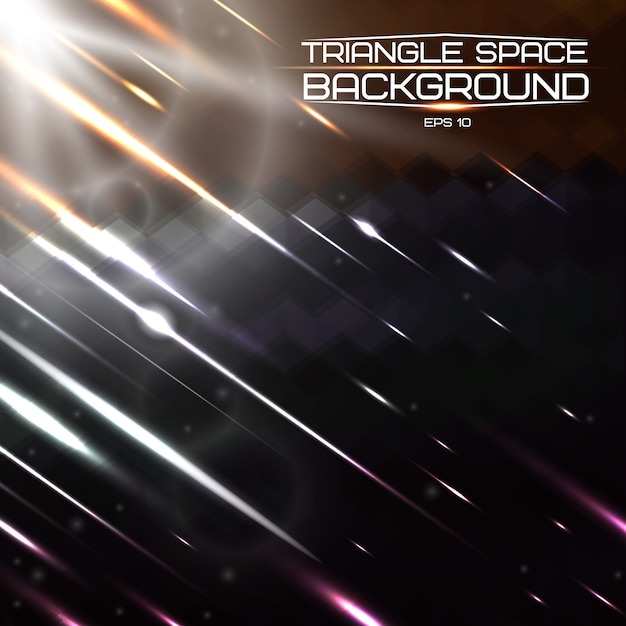 Triangle Abstrait Avec Des Lumières Et Des Comètes. Vecteur Premium