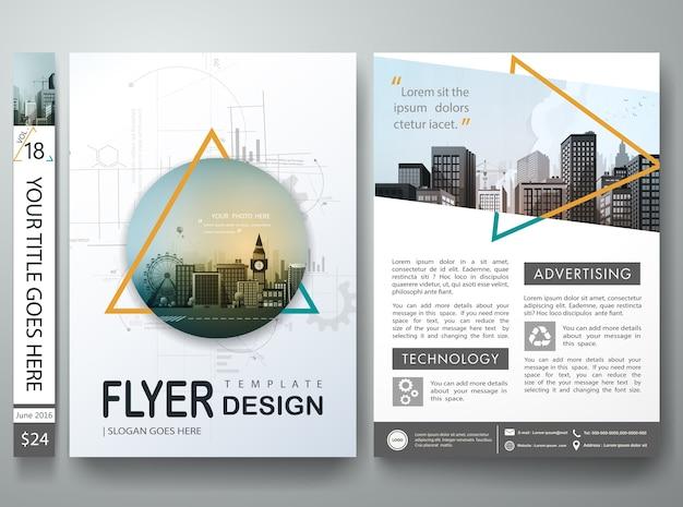 Triangle abstrait sur le portefeuille de livre de couverture dans la conception de la mise en page Vecteur Premium