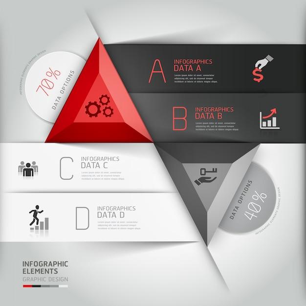 Triangle d'affaires infographie 3d moderne. Vecteur Premium