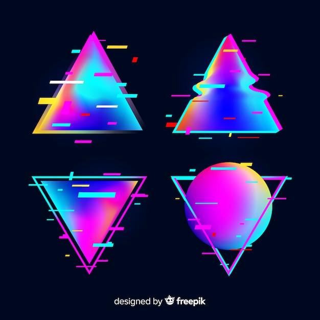 Triangle dégradé glitch Vecteur gratuit