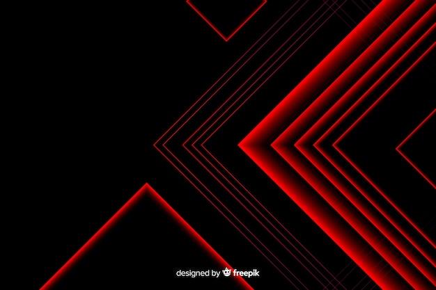 Triangle design en lignes lumineuses rouges Vecteur gratuit