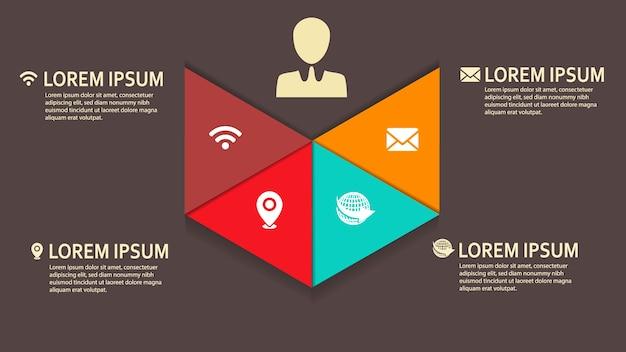 Triangle forme infographique pour les entreprises Vecteur Premium