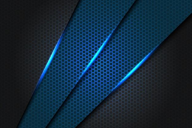 Triangle Slash Bleu Abstrait Métallique Sur Gris Foncé Avec Motif De Maille Hexagone Design Illustration De Texture De Fond Futuriste Moderne. Vecteur Premium