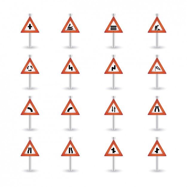 Triangulaire Attention Signalisation Routière Collection Vecteur gratuit