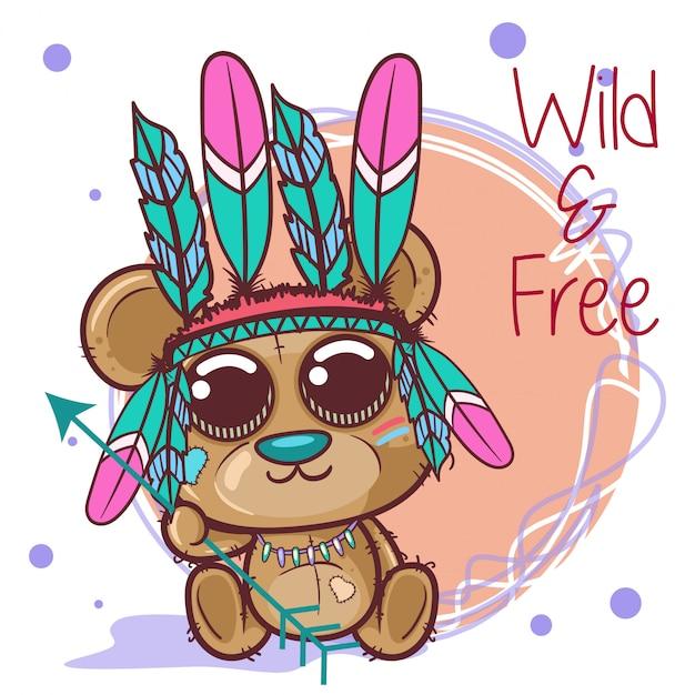 Tribal cartoon mignon avec des plumes - vecteur Vecteur Premium