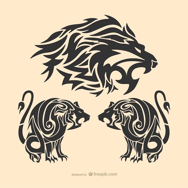 Tribal tatouage de lion Vecteur gratuit