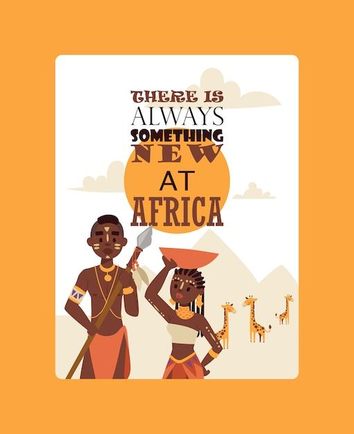 Tribu de famille africaine Vecteur Premium