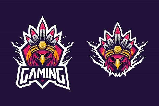 Tribu indienne de style oiseau génial pour logo esports Vecteur Premium