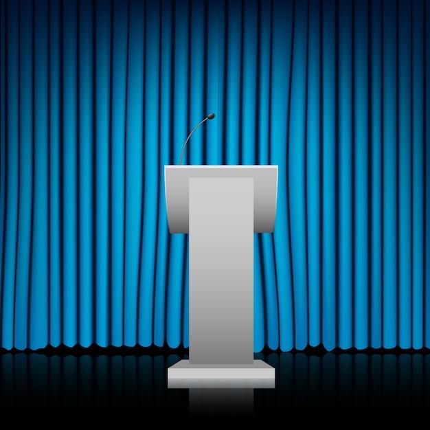Tribune avec fond de rideau bleu Vecteur Premium