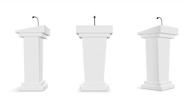 Tribune podium avec microphones, pupitre. Vecteur Premium