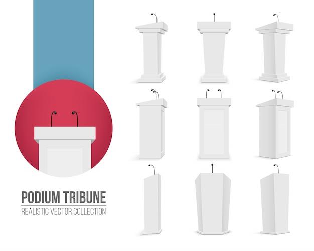 Tribune podium avec microphones Vecteur Premium