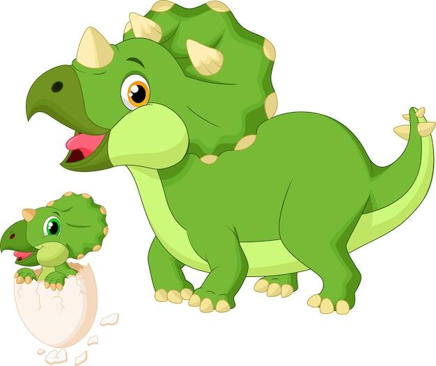 Triceratops de mère avec l'éclosion de bébé Vecteur Premium