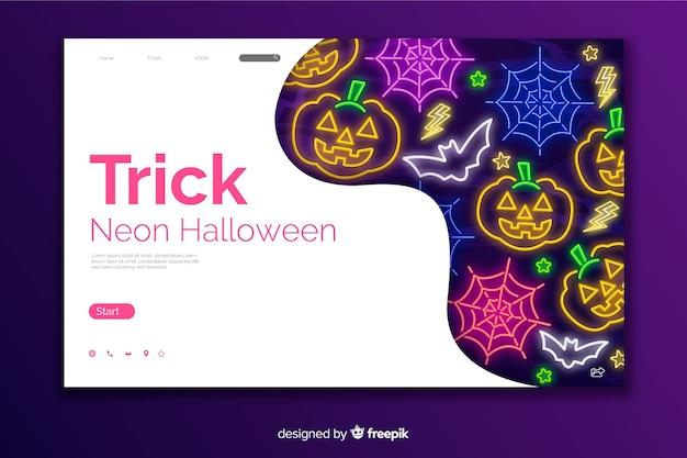 Trick néon halloween page de destination Vecteur gratuit