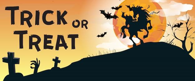 Trick or treat lettrage avec cavalier sans tête et cimetière Vecteur gratuit