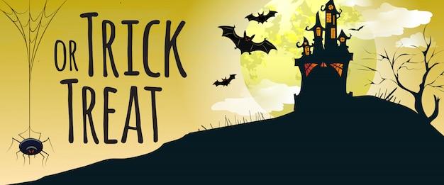 Trick or treat lettrage avec château, chauves-souris et araignée Vecteur gratuit
