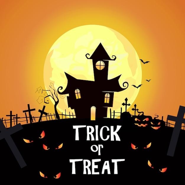 Trick or treat lettrage avec un cimetière, des châteaux et des yeux fantasmagoriques Vecteur gratuit