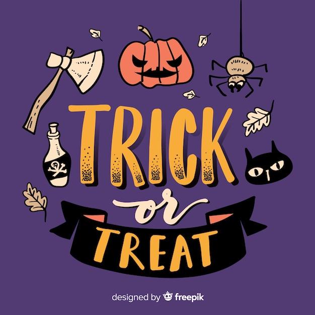 Trick or treat lettrage avec citrouille sculptée Vecteur gratuit