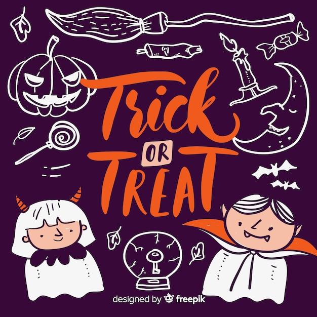 Trick or treat lettrage avec le diable et le vampire Vecteur gratuit