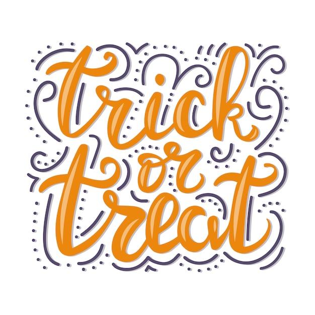 Trick or treat lettrage. Vecteur Premium