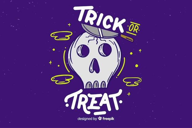 Trick ou traiter les lettres avec le crâne Vecteur gratuit