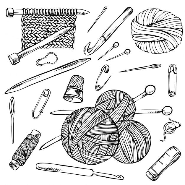 Tricot Et Crochet, Ensemble De Croquis De Dessins De Contour, éléments De Tricot Dessinés à La Main. Vecteur Premium