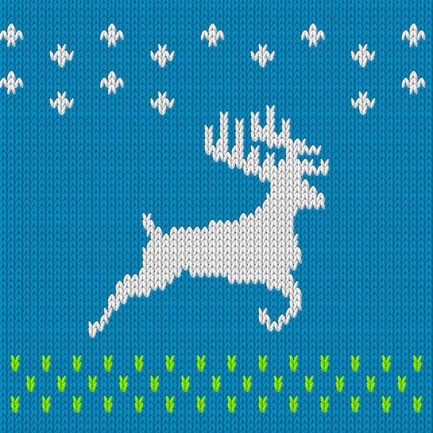 Tricot fond bleu avec le cerf Vecteur Premium