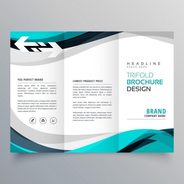 Trifold conception de la brochure avec une belle vague bleu et gris Vecteur gratuit