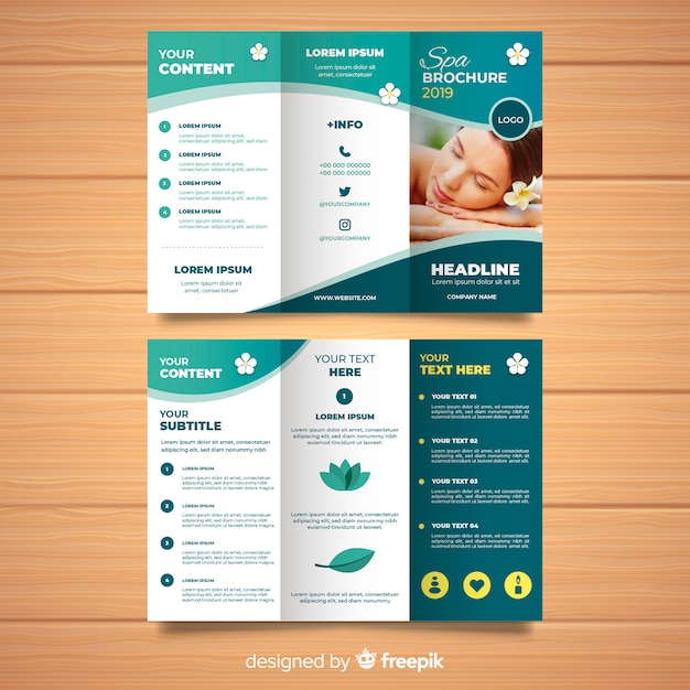 Trifold Spa Flyer Template Vecteur Premium