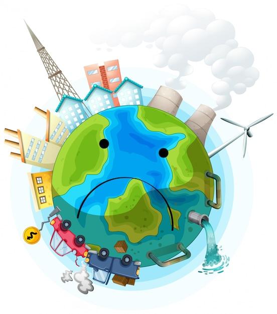 Triste affiche de terre polluée Vecteur gratuit