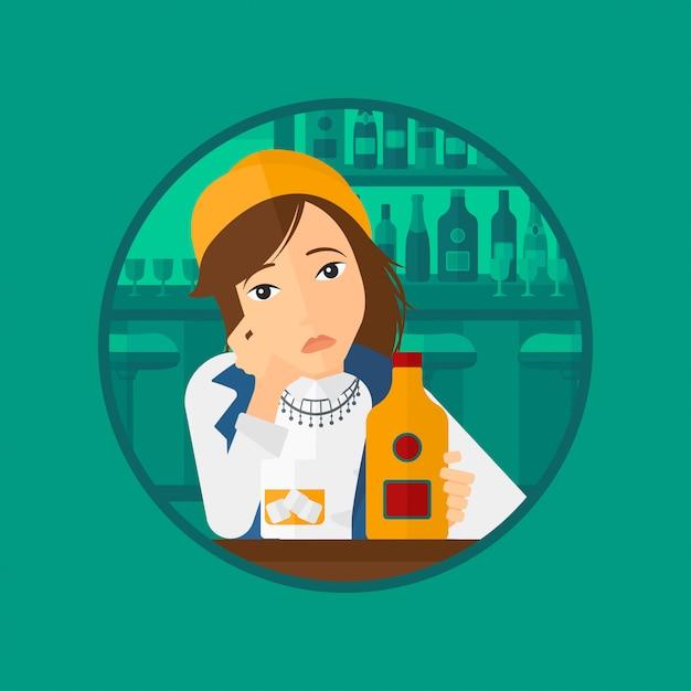 Triste femme buvant de l'alcool. Vecteur Premium