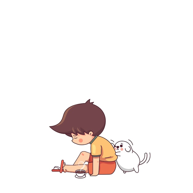 Triste garçon et le chien Vecteur Premium