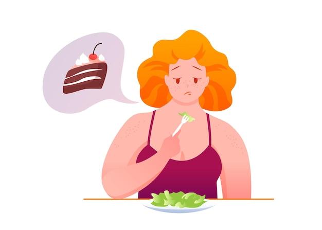 Triste Grosse Femme Mange De La Salade Verte, Rêvant D'un Morceau De Chocolat Malsain Vecteur Premium