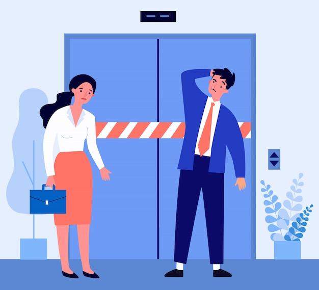 Triste Homme Et Femme Debout Devant Un Ascenseur Cassé Vecteur Premium