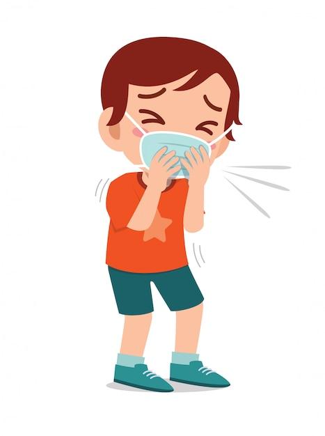 Triste Mignon Petit Garçon Enfant éternue à Cause De La Grippe Vecteur Premium