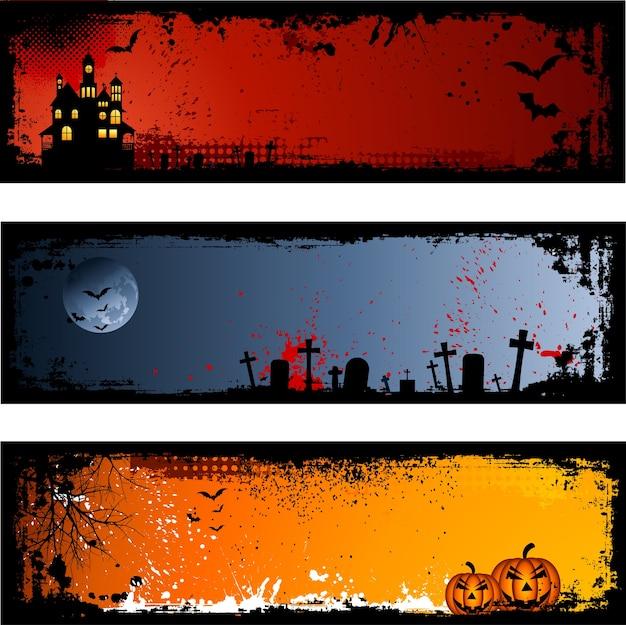 Trois Arrière-plans Différents De Halloween Fantasmagoriques Vecteur gratuit