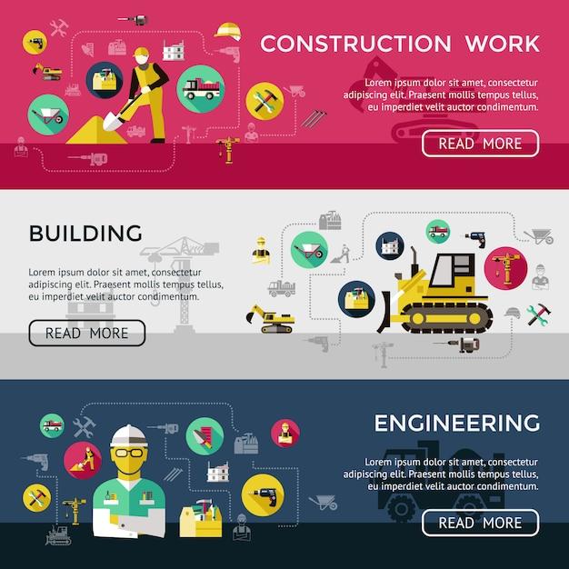 Trois Bannière De Construction Horizontale Sertie De Descriptions D'ingénierie De Construction De Travaux De Construction Illustration Vectorielle Vecteur gratuit