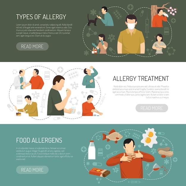 Trois Bannières D'allergie Vecteur gratuit