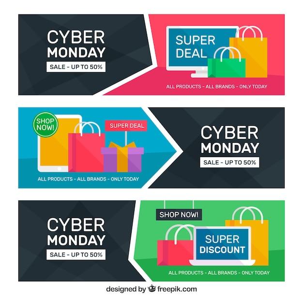 Trois bannières de cyber lundi plat Vecteur gratuit