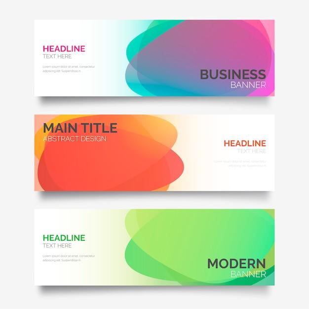Trois bannières avec des formes abstraites colorées Vecteur gratuit