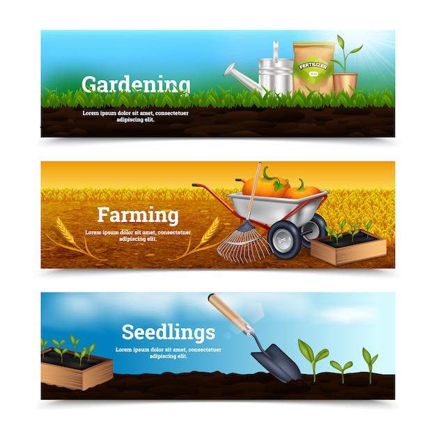 Trois bannières horizontales de jardinage Vecteur gratuit