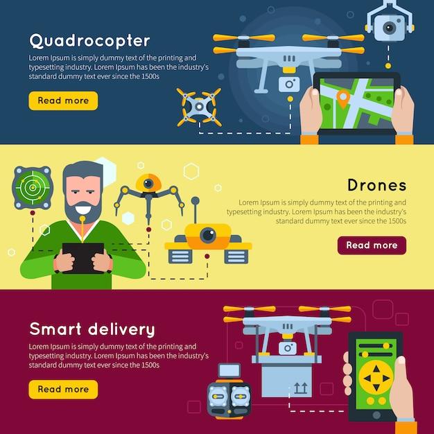 Trois Bannières Horizontales De Nouvelles Technologies Sur Des Drones Quadricoptères Et Des Thèmes De Livraison Intelligents Vecteur gratuit