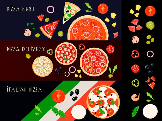 Trois bannières horizontales de pizza italienne sertie d'icônes d'ingrédient de remplissage isolé Vecteur gratuit