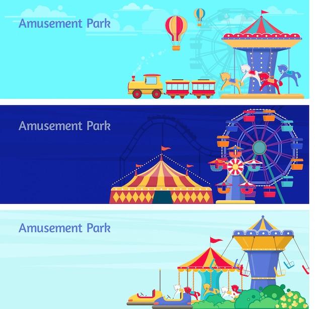 Trois Bannières De Parc D'attractions Avec Différents Carrousels, Balançoires Et Grande Roue. Illustration Vecteur Premium