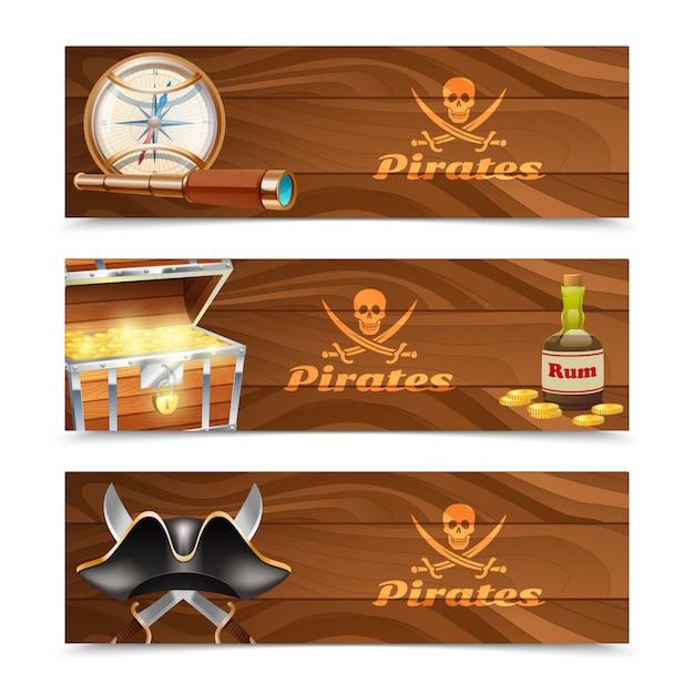 Trois bannières de pirate horizontales Vecteur gratuit