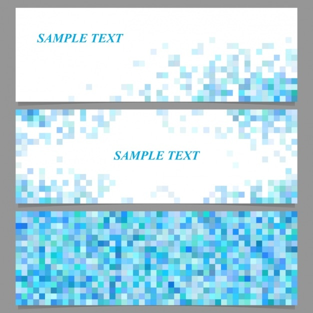 Trois bannières avec des pixels bleus Vecteur gratuit