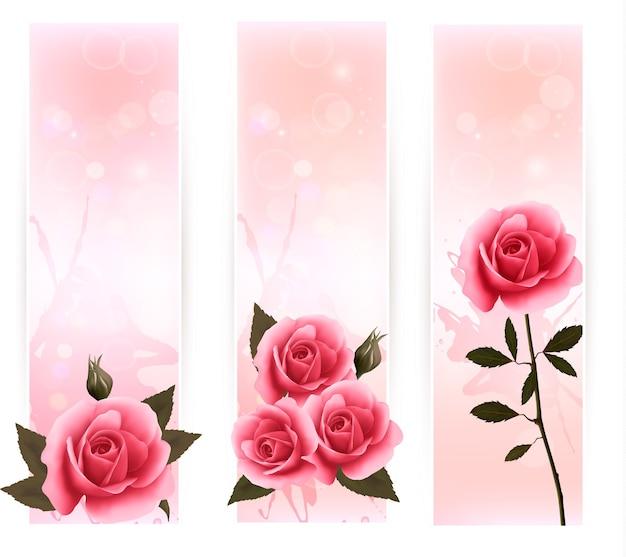 Trois Bannières Avec Des Roses Roses. Vecteur Premium