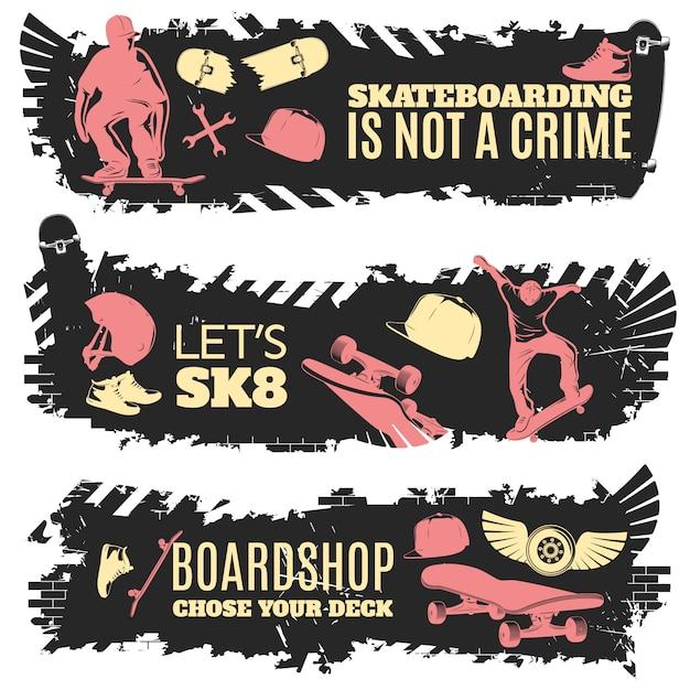 Trois Bannières De Skateboard Avec Des Descriptions De La Planche à Roulettes N'est Pas Un Crime, Laissez Sk8 Et Boardshop Ont Choisi Votre Illustration Vectorielle Vecteur gratuit